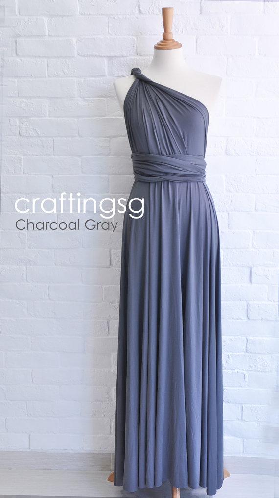 Bridesmaid Dress Infinity Dress Charcoal Grey Floor Length Wrap Convertible Dress Wedding Dress