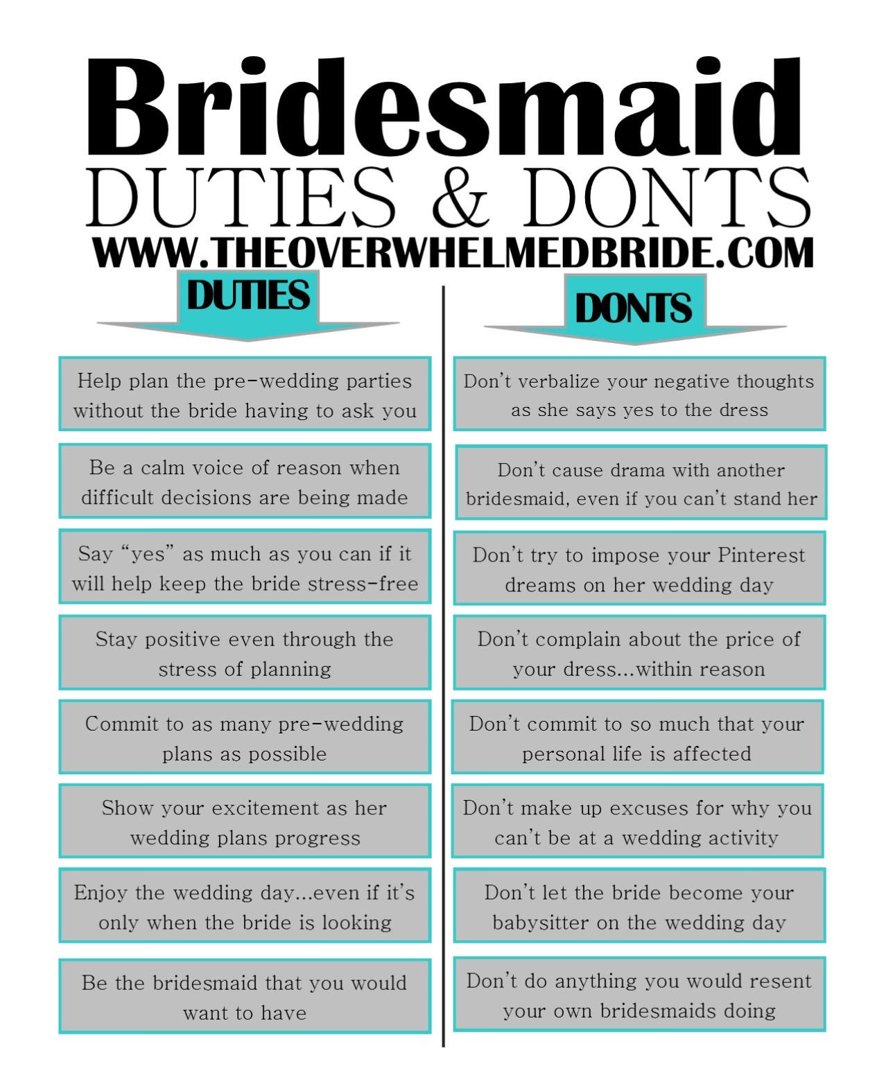 bridesmaid duties and donts by the overwhelmed bride