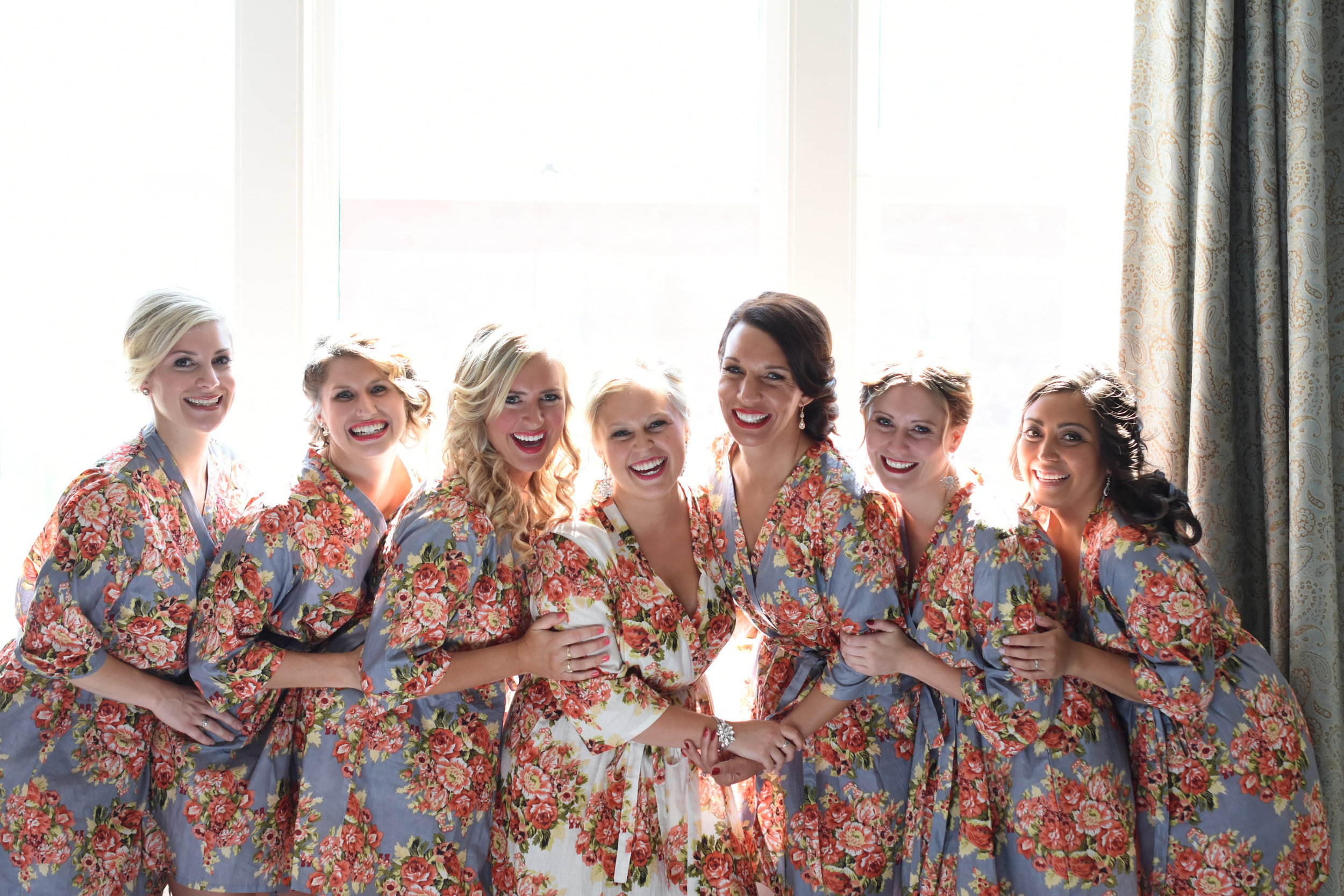 floral bridesmaid getting ready robes // macy marie photography wedding