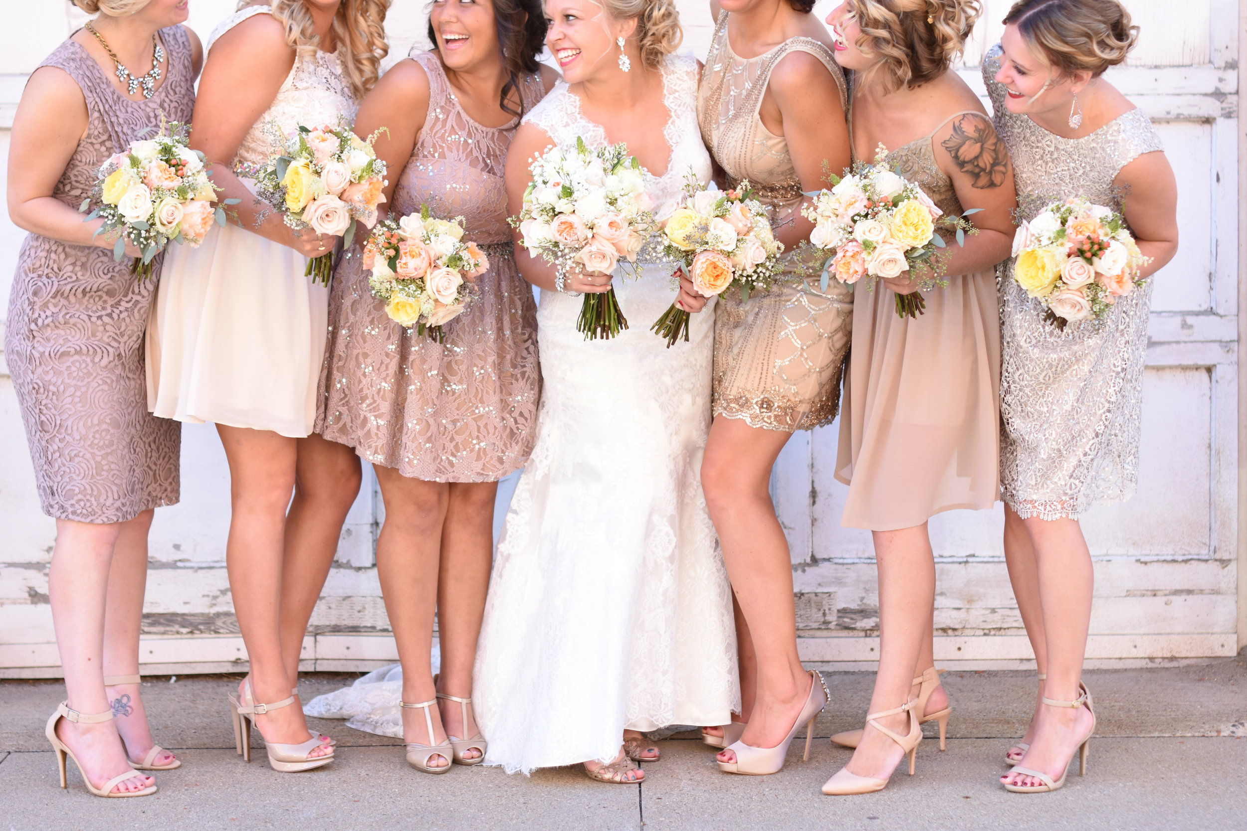 blush tan and copper mix and match bridesmaid dresses // macy marie photography wedding
