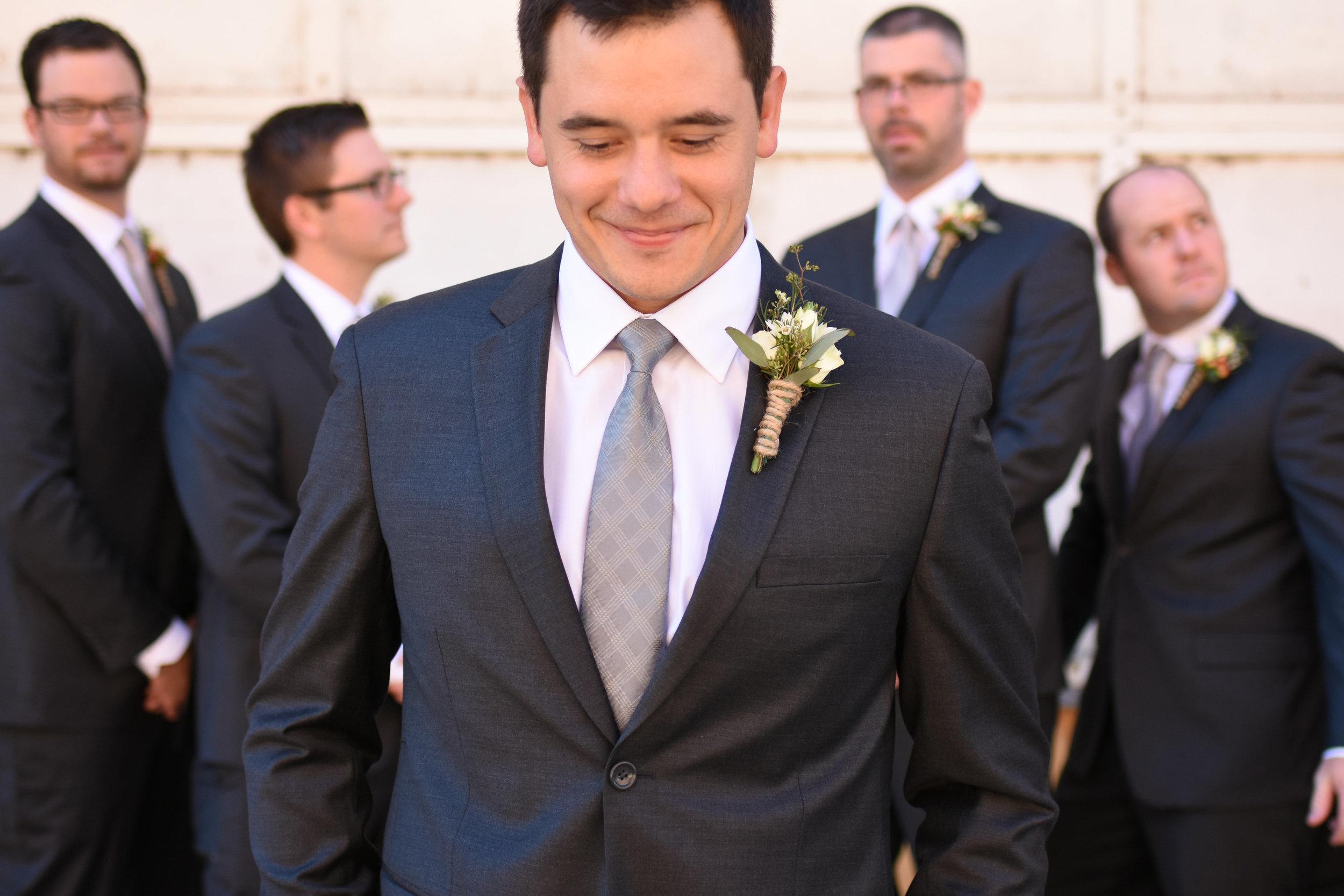 simple black and grey groomsmen attire // macy marie photography wedding