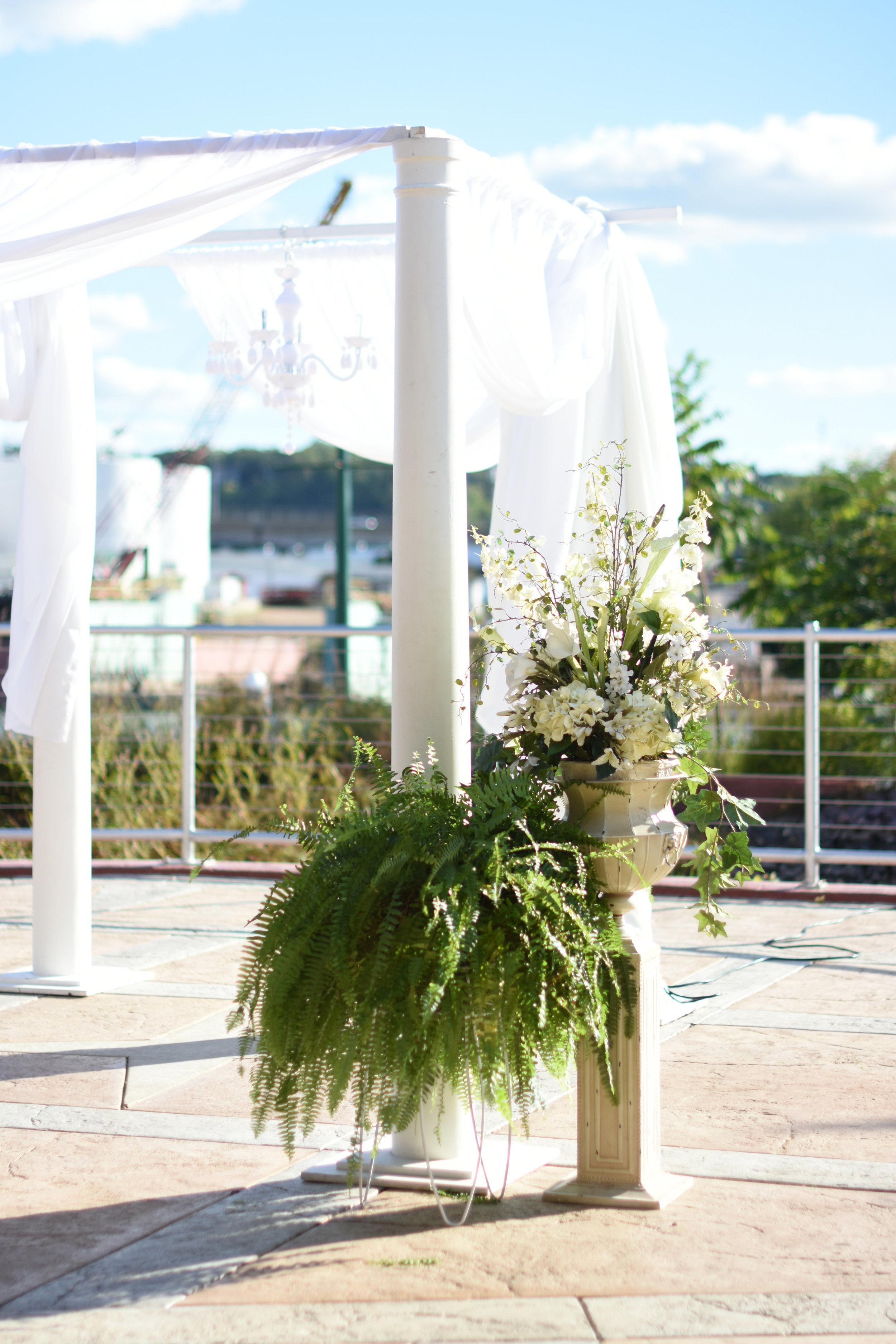 simple white wedding chuppah // macy marie photography wedding