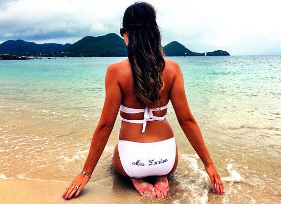 white personalized mrs bikini honeymoon must haves