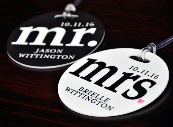 mr and mrs personalized luggage tags honeymoon must haves