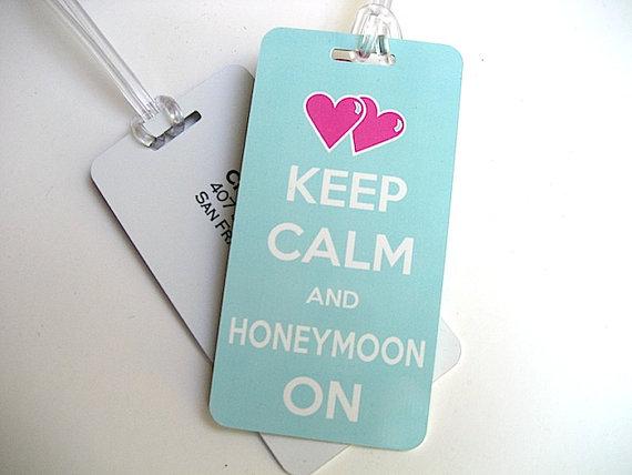 keep calm and honeymoon on luggage tags