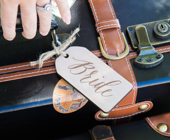 wooden bride and groom luggage tags honeymoon must haves