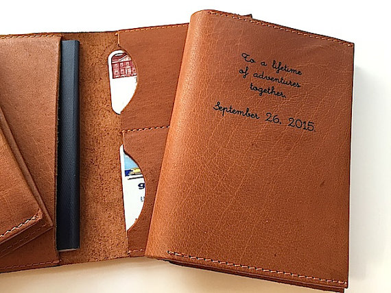personalized leather passport wallet honeymoon must haves