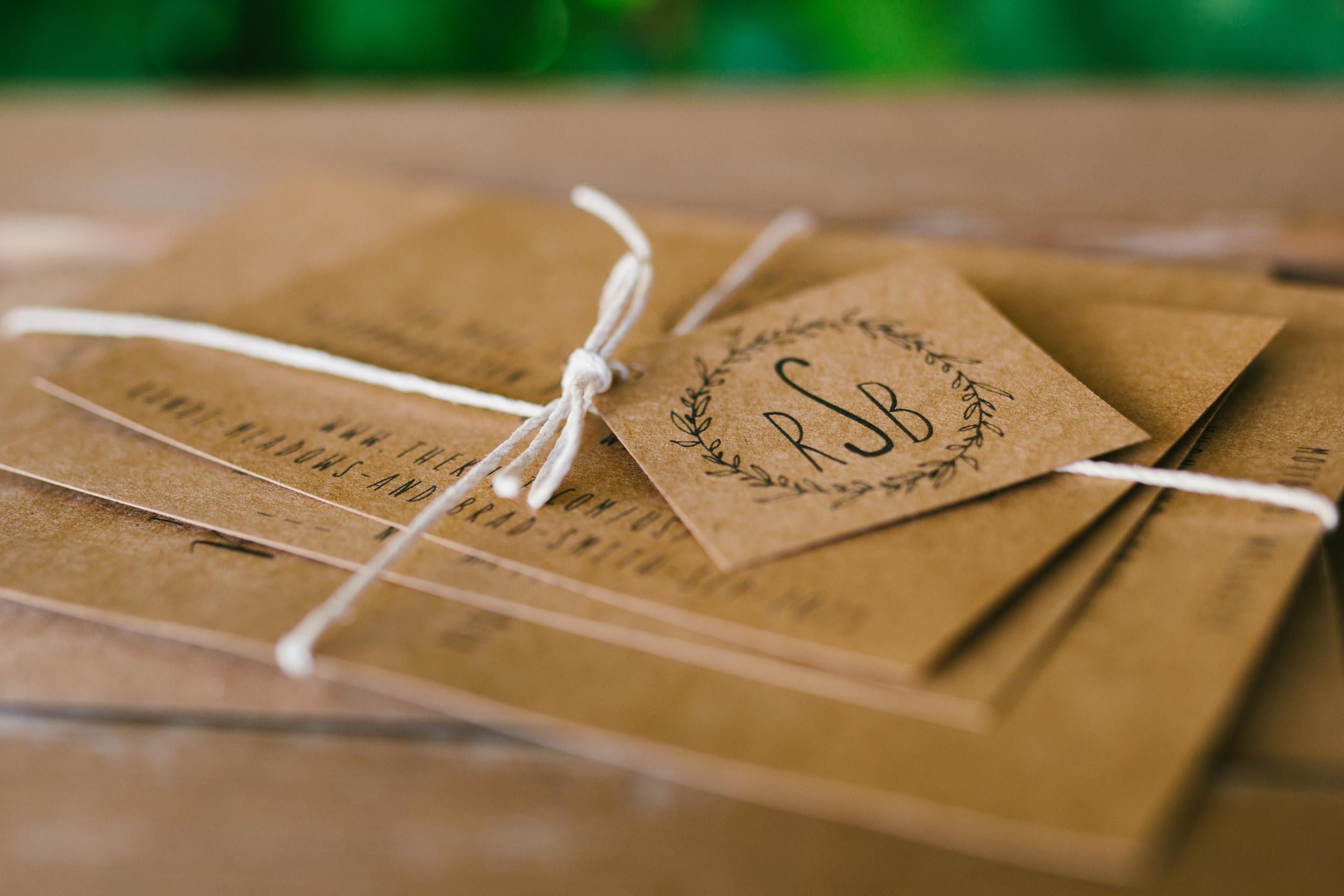 wedding invitation- rustic intimate oklahoma wedding at Darlington Chapel