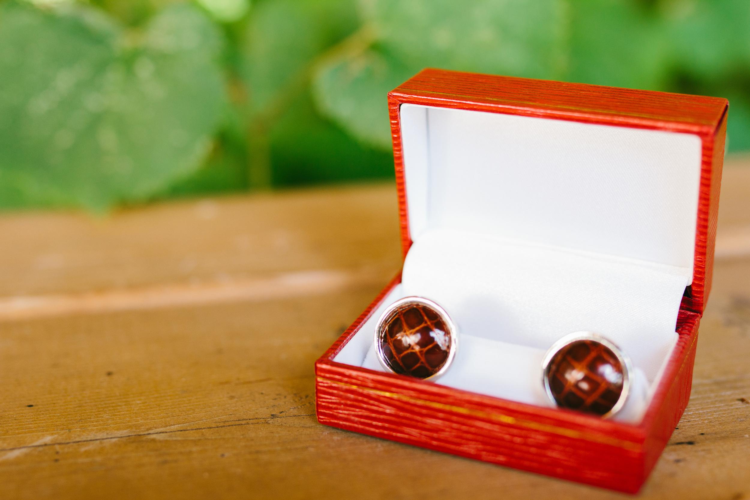 rustic intimate oklahoma wedding at Darlington Chapel - rustic groom cufflinks