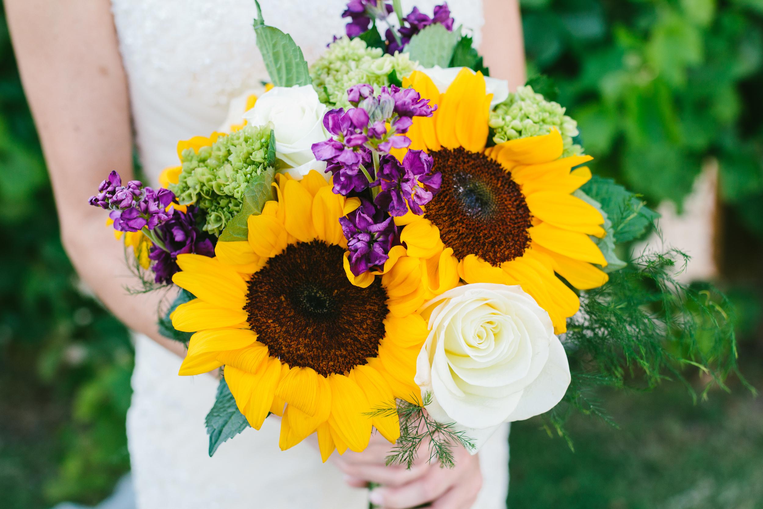sunflower bridal bouquet - rustic intimate oklahoma wedding at Darlington Chapel
