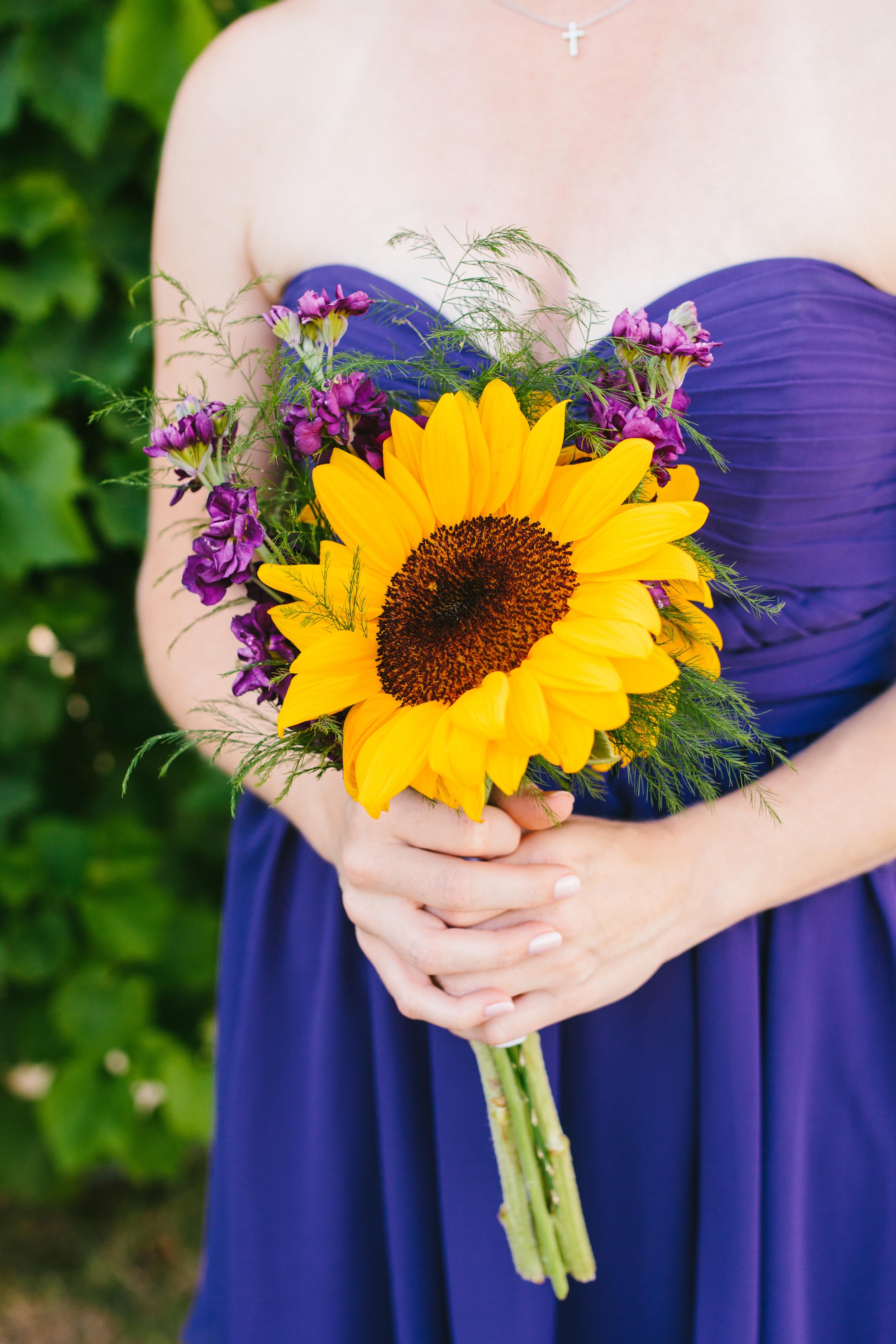 sunflower bridesmaid bouquet - rustic intimate oklahoma wedding at Darlington Chapel