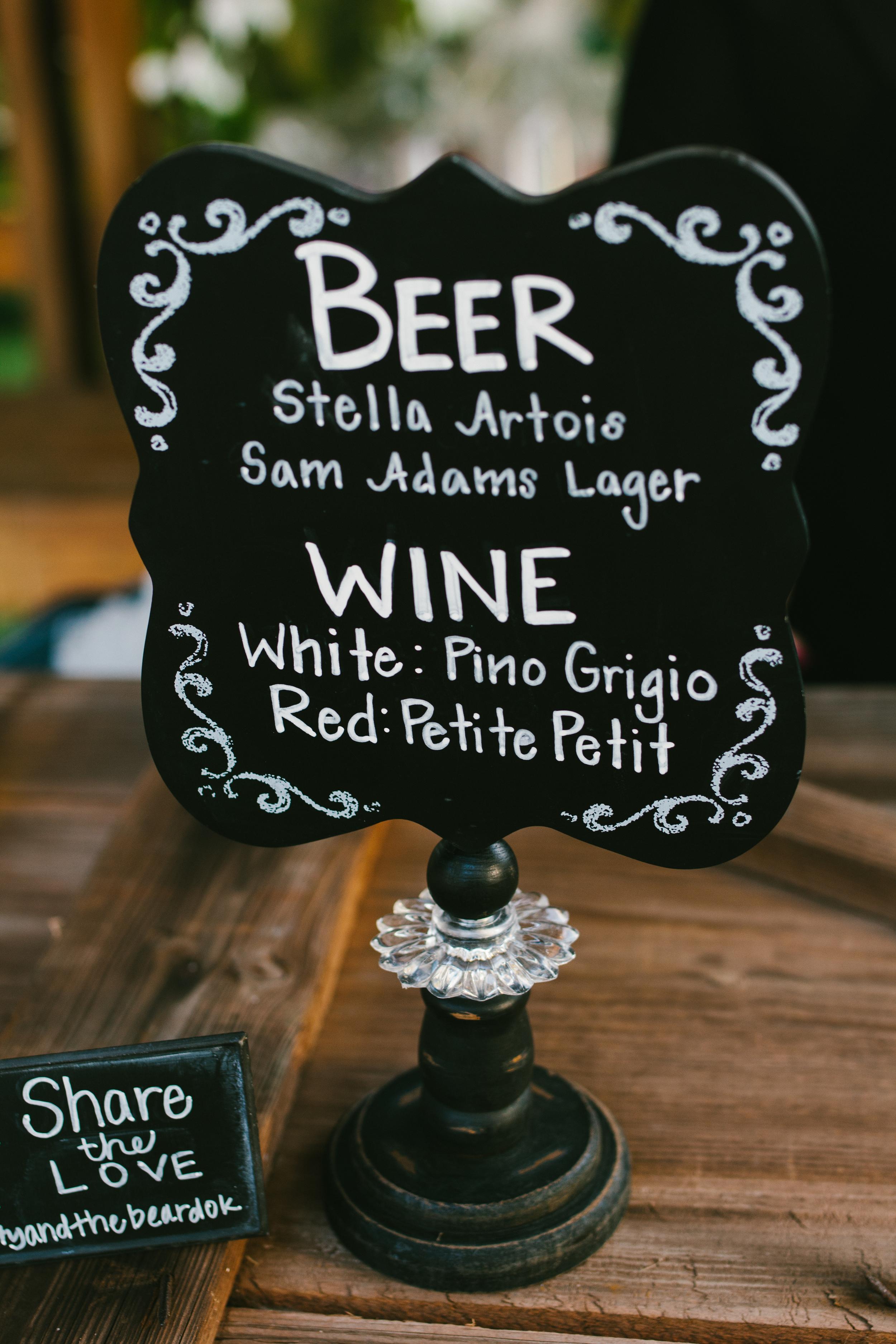 rustic chalkboard bar sign - rustic intimate oklahoma wedding at Darlington Chapel