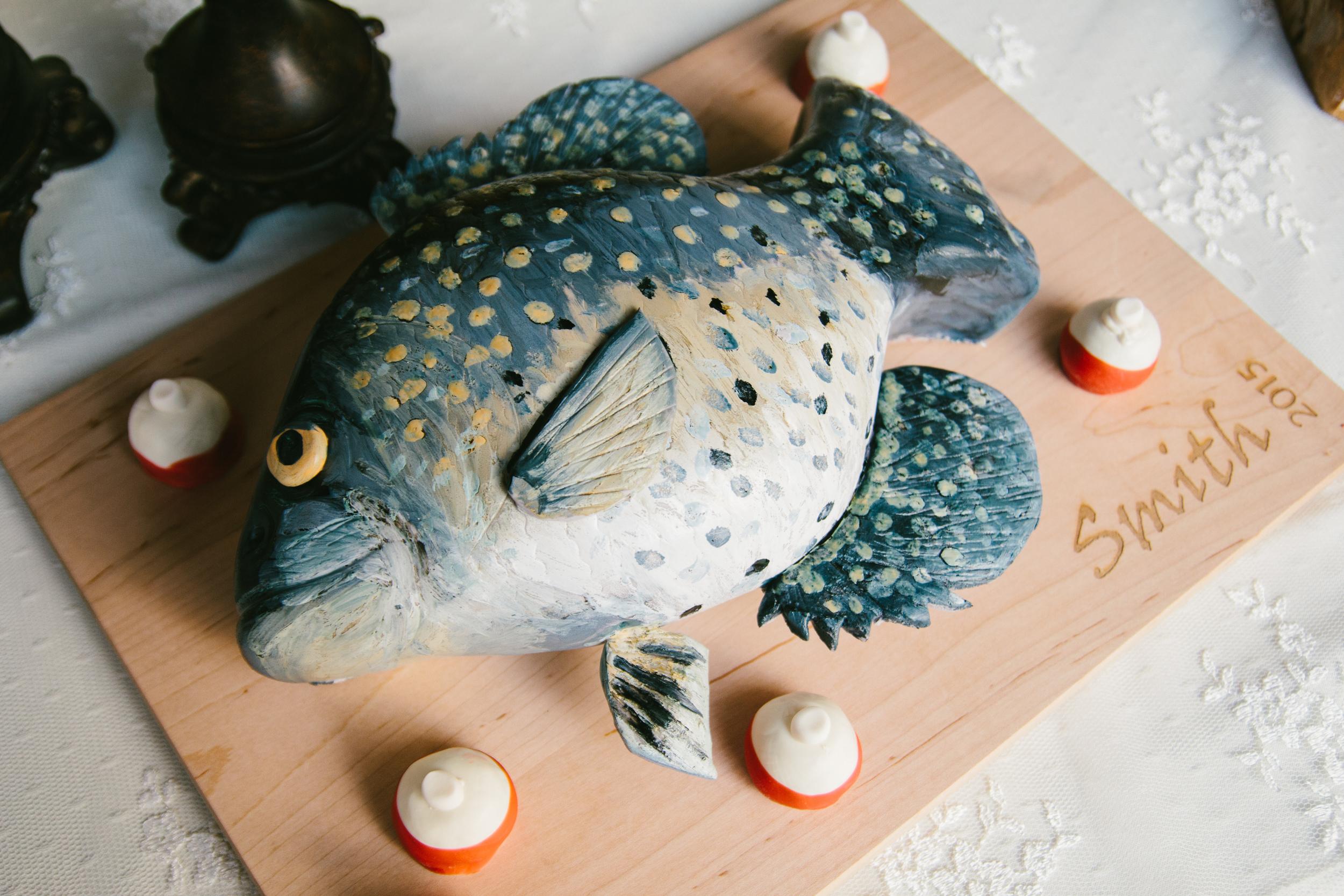 fishermans groom cake - rustic intimate oklahoma wedding at Darlington Chapel