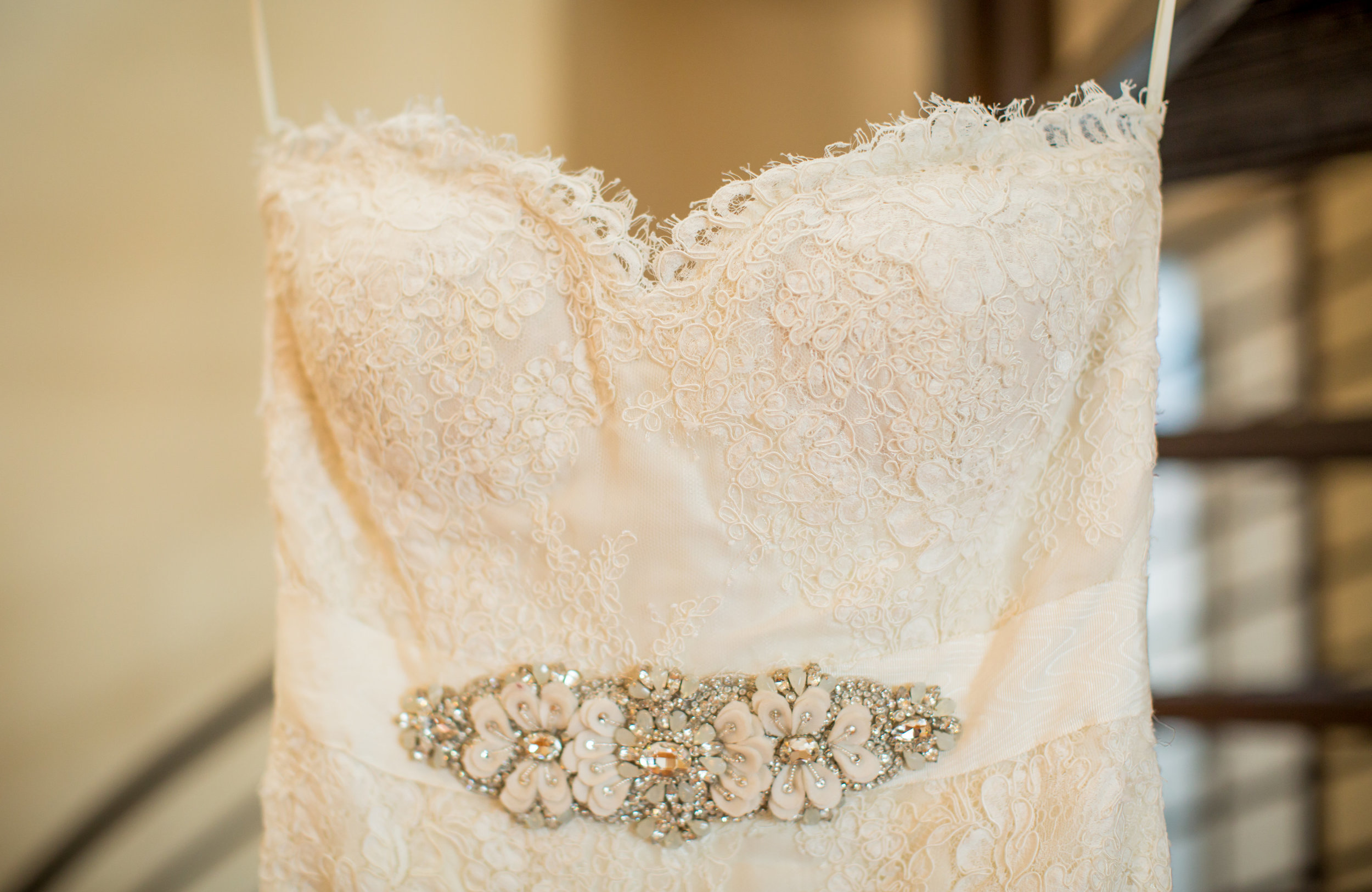 lace wedding dress with beading - - A Diamond Hotel Penthouse Wedding by Katelyn Owens Photography