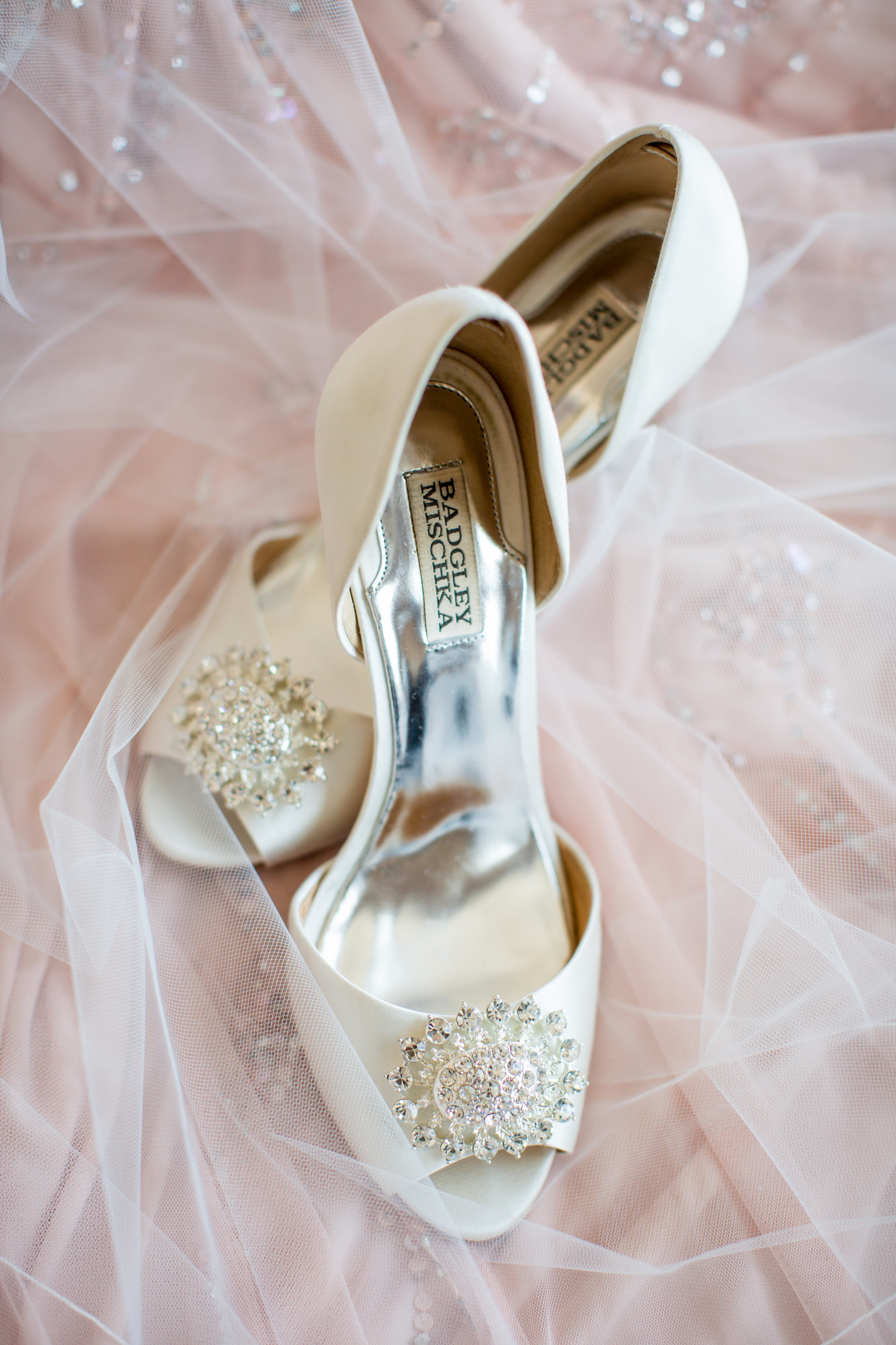 badgley mischka white wedding shoes - - A Diamond Hotel Penthouse Wedding by Katelyn Owens Photography