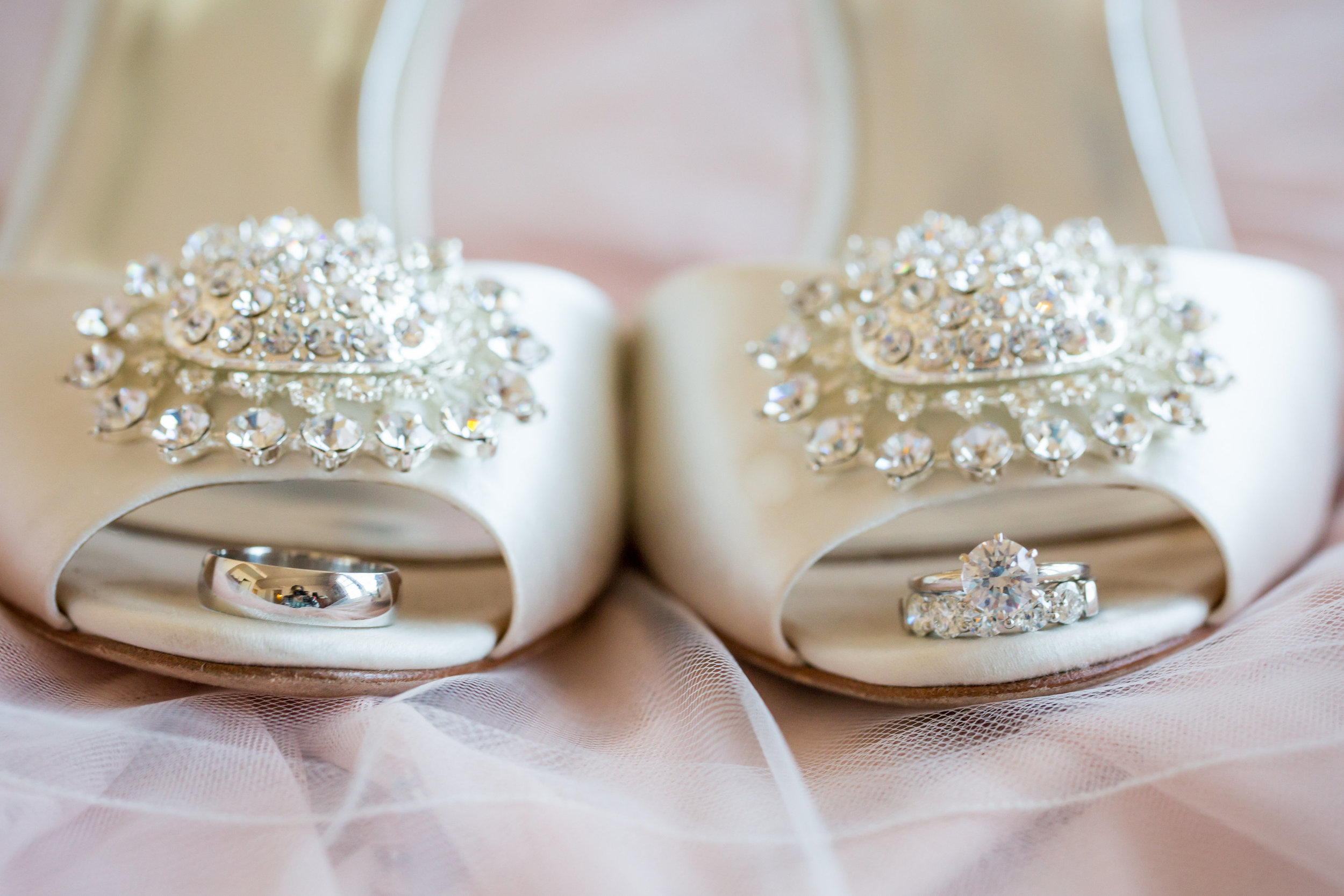 white badgley mischka wedding heels - A Diamond Hotel Penthouse Wedding by Katelyn Owens Photography