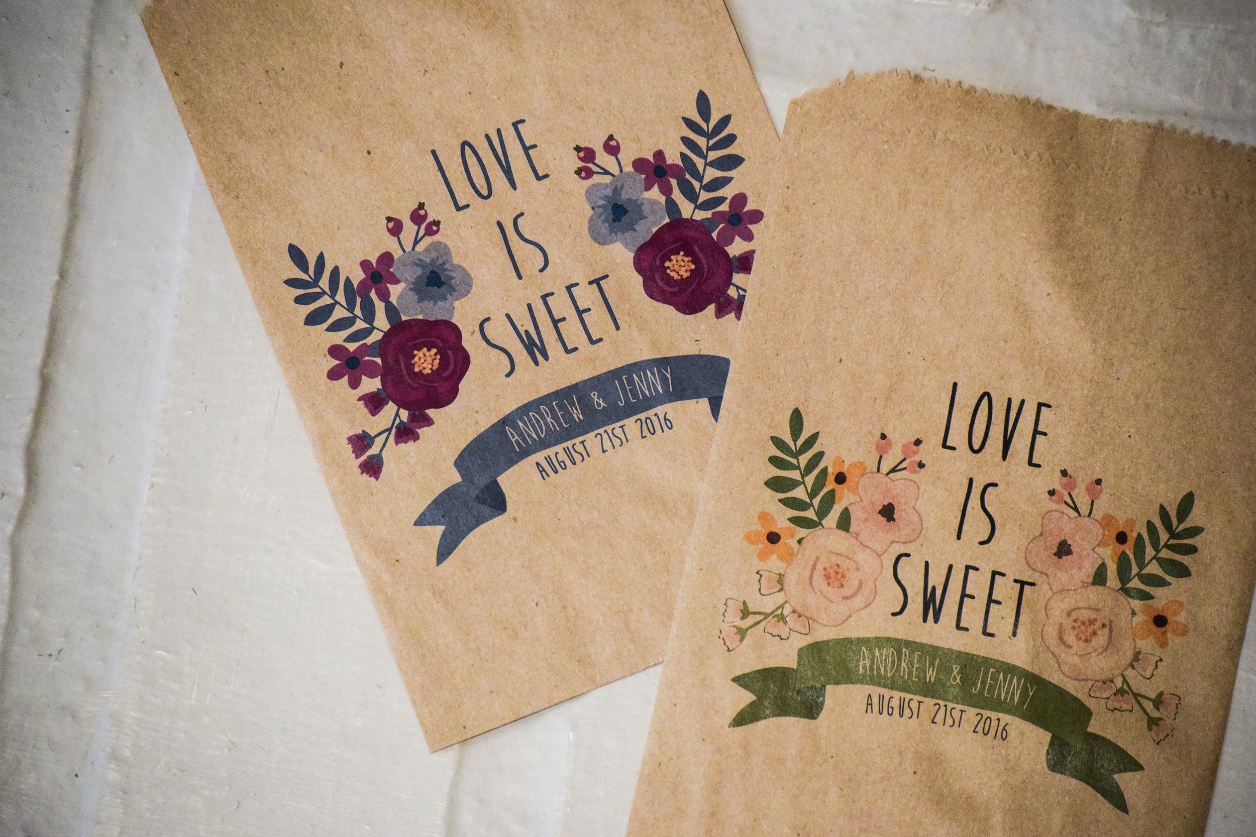 Love Is Sweet Custom Wedding Favor Bags by Creative Party Design