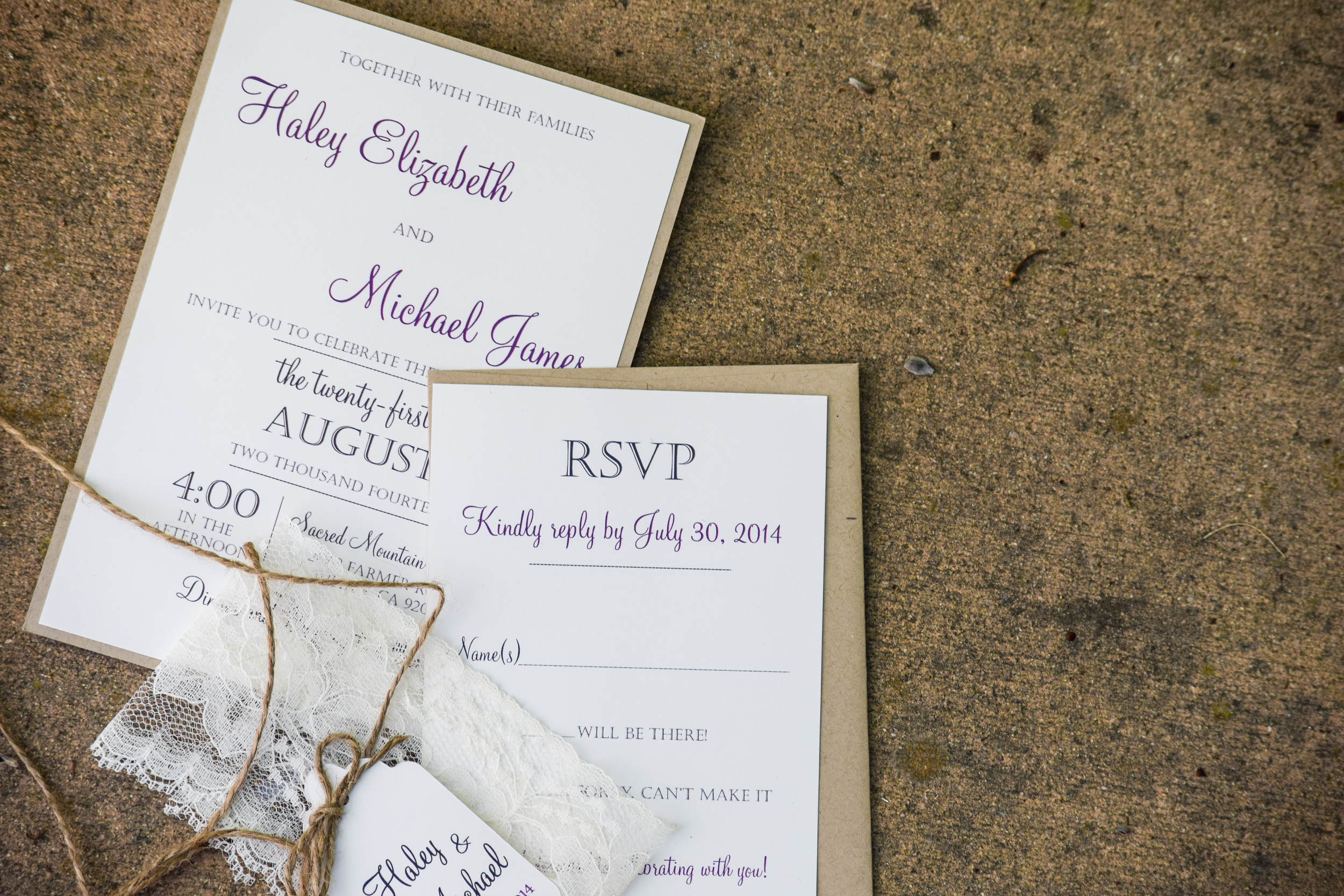Rustic Lace Wedding Invitations by Love of Creating