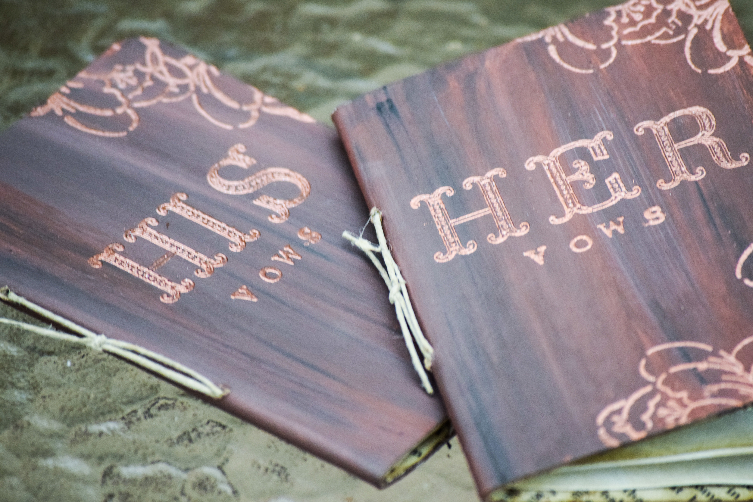 His and Her Rustic Wedding Vow Books by Scrappy Seahorse