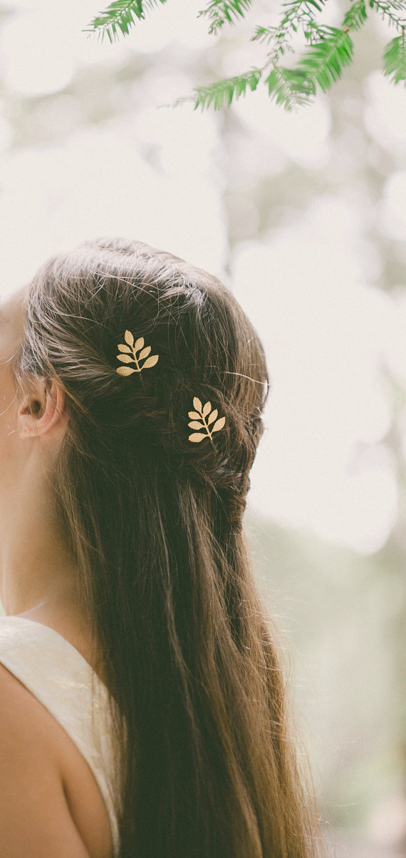 boho bride leaf hair accessory