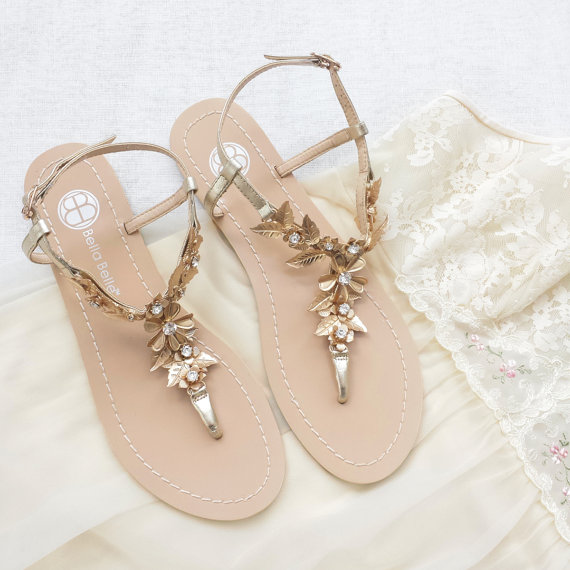 gold bohemian wedding sandals