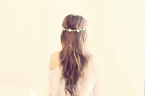Romantic Flower Headband, Flower Crown, Hippie Flower Crown, Head Chain Flower HeadBand,