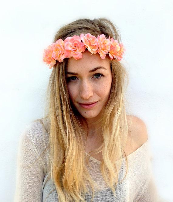 Rose Flower Crown, Bun Crown, Flower Headband -coachella edc ballerina headband