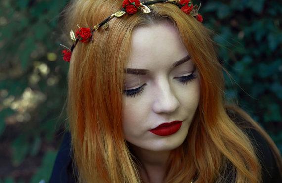 Red Rose Flower Crown, Red Flower Crown, Festival Crown, Festival Garland, Rose Crown, Festival Flower Crown,