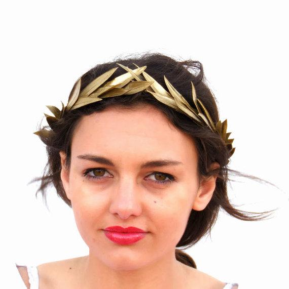 Gold leaf Crown, Gold Headband, Golden leaves Headpiece, Greek Goddess, Flower crown, Woodland Hair Wreath, Holiday