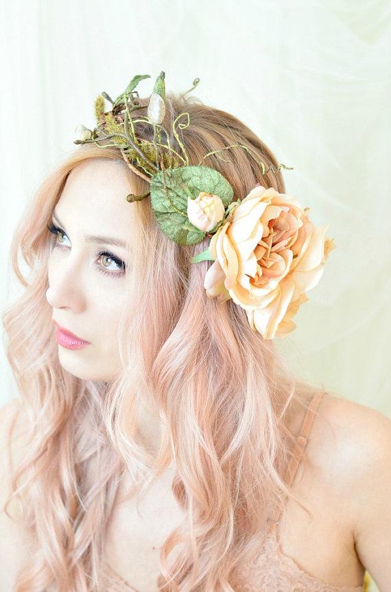 Woodland crown, floral hair wreath, forest flower crown, wedding headpiece, rose circlet, fern crown, hair accessory - Nymphaea