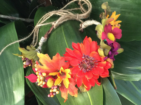 Flower crown, wedding Tiara, Wedding Accessories, fall bridal flowers, fairy crown, vintage flower crown, harvest flowers, hair flower