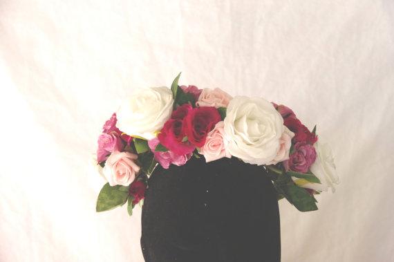 white and pink fake rose flower crown