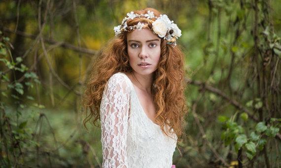 Flower Crown Bridal Headpiece Double Wreath Flower Hair Wreath Wedding Headpiece White Tiara Wedding Flower Crown Bridal Hair