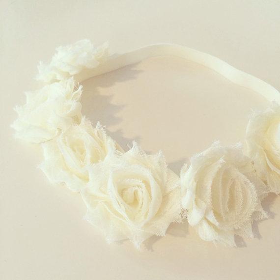 Ivory Flower Crown Headband // Ivory Cream Flower Crown Headband for Baby, Toddler + Kids, Spring Flower Crown, Ivory Flower Girl Headband
