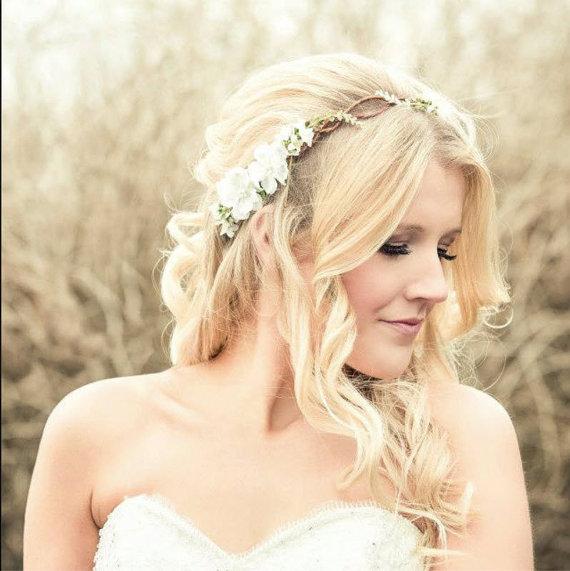 bridal hair acessories, cherry blossom flower crown, wedding headpiece, woodland flower, bridal hair flower, rustic wedding, bridal headband
