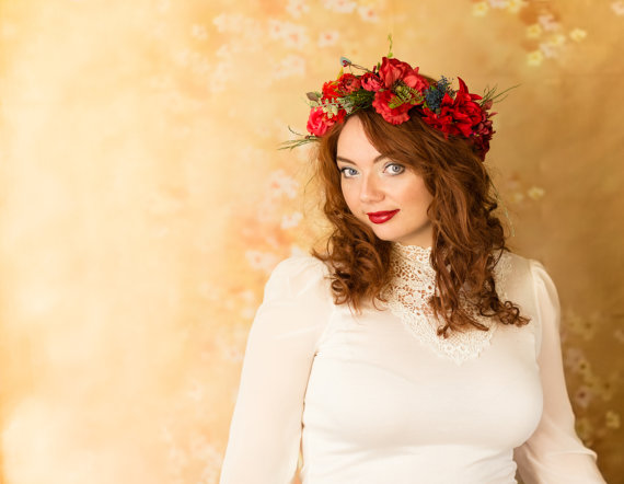 wedding flower crown red poppies bridal headpiece wedding accessories Flower crown rustic head wreath wedding headband bridal hair