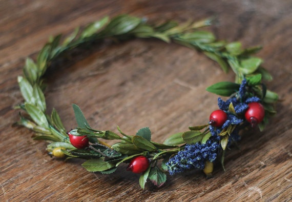 High Quality Synthetic Dark Blue+Deep Red and Mustard Berry Greenery Crown