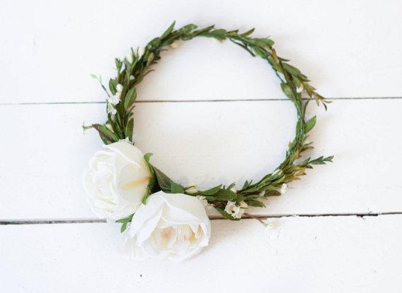 Wander in Cotton Fields Cream Flower Crown