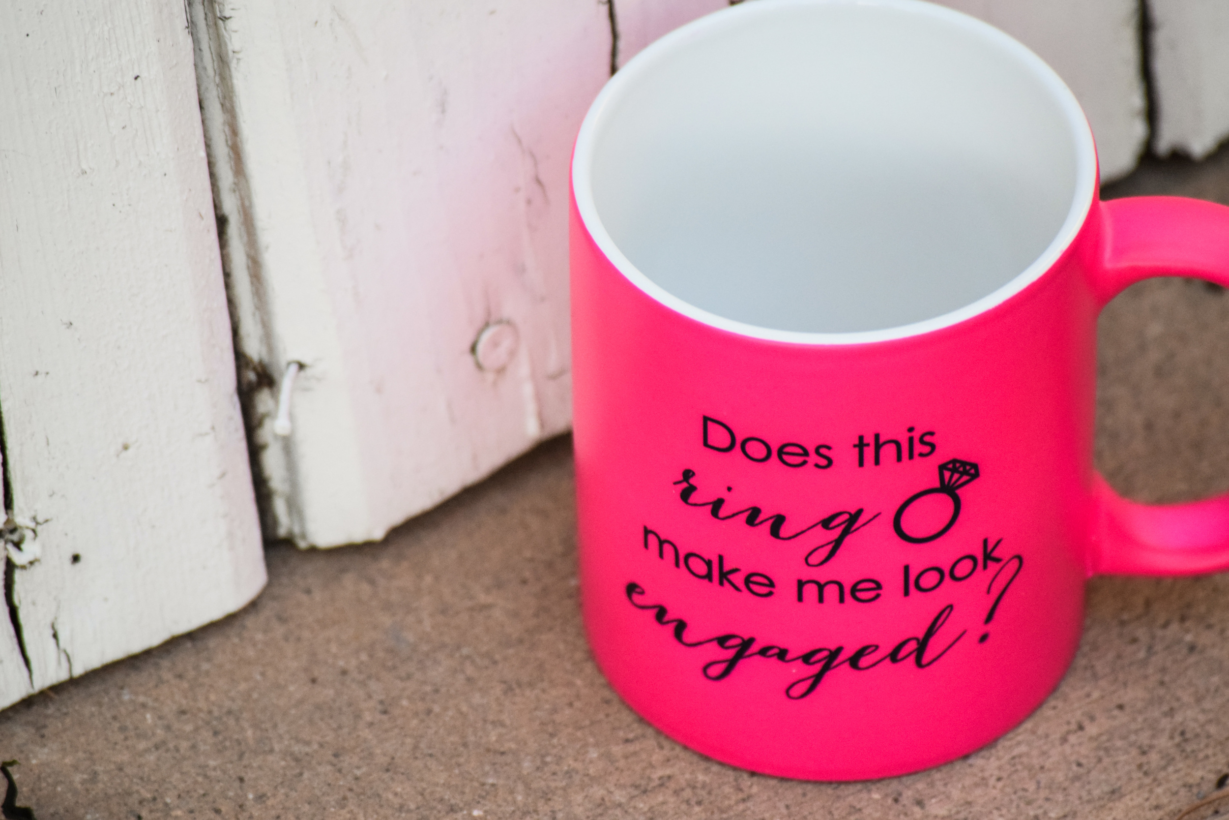 neon pink bride to be mug - does this ring make me look engaged