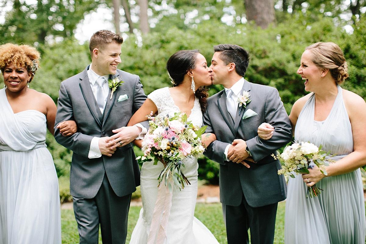 light blue and grey wedding party attire - davids bridal