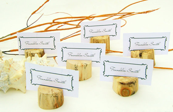 winter wedding drift wood escort cards - seating cards