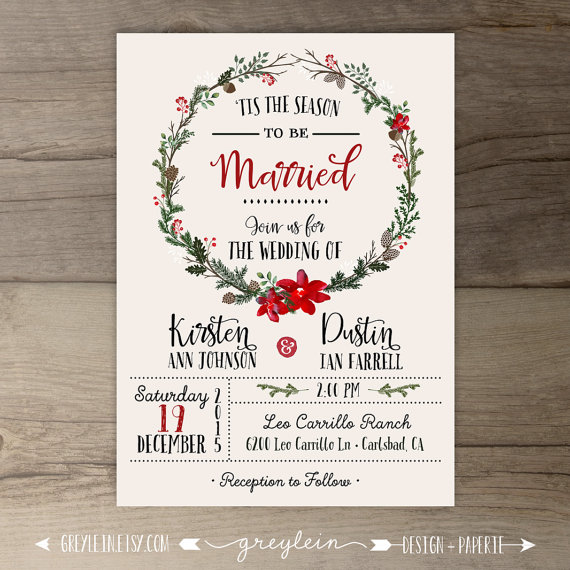festive winter wedding invitation