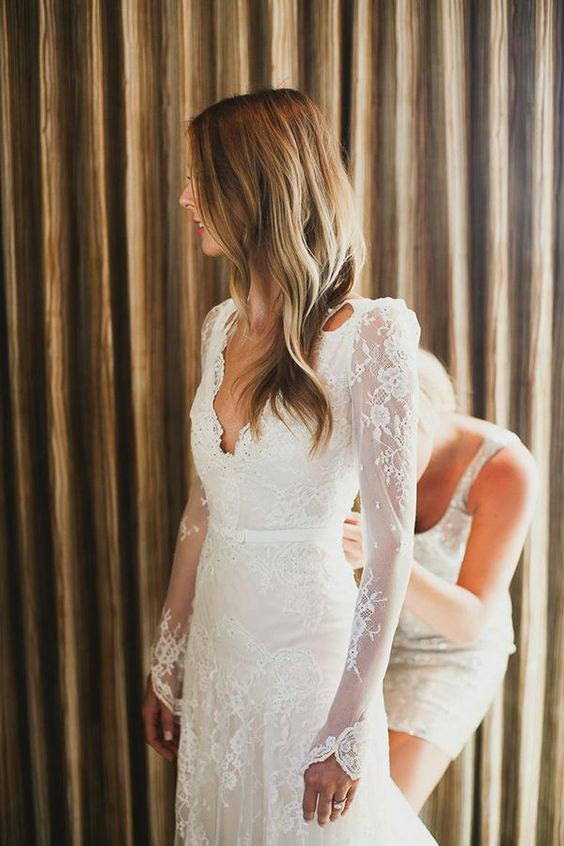 long sleeve lace winter wedding gown
