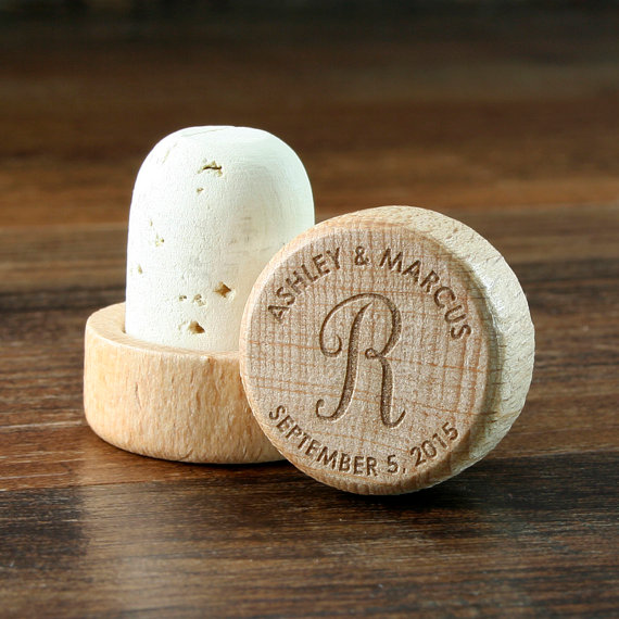 unique wedding favors - personalized wine stopper cork