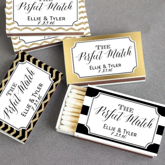 unique wedding favor ideas - personalized match box wedding favors