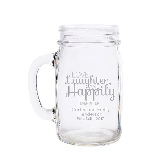 unique wedding favor ideas - custom mason jar mugs wedding favors