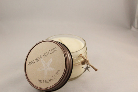 unique wedding favor ideas - beach wedding personalized candle wedding favors