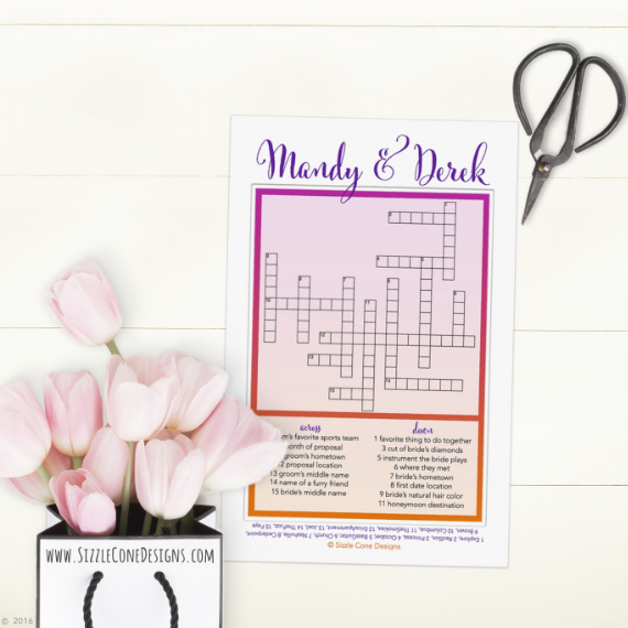 unique wedding favor ideas -   Custom Wedding Crossword Puzzle wedding favors
