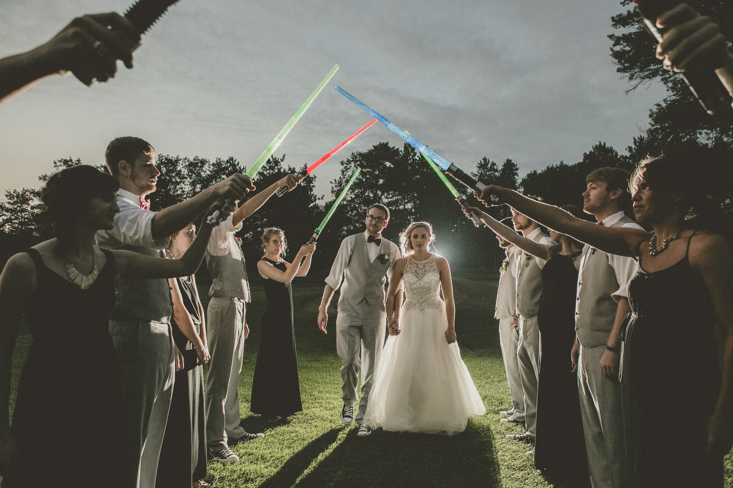 a classic Wisconsin backyard wedding - star wars wedding