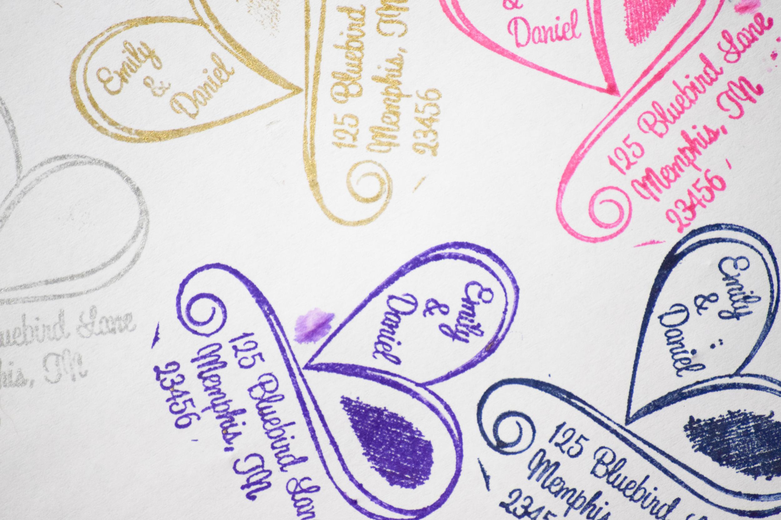Custom Wedding Invitation Address Stamp by Purple Lemon Designs